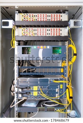 Industrial control system in modern factory - stock photo