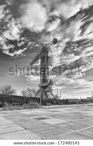 Industrial crane (black and white) - stock photo