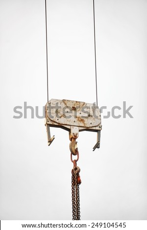 Industrial crane hook on a white background - stock photo