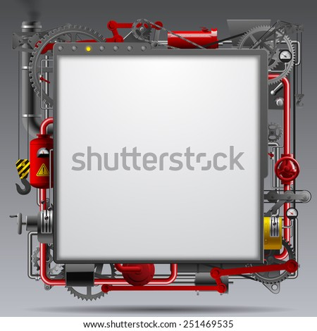 Industrial design template with complex machinery - stock photo