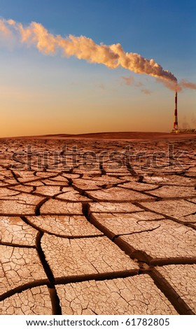 Industrial destruction, global warming concept - stock photo