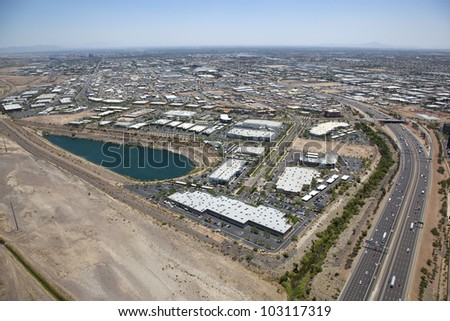 Industrial District off Interstate 10 in Phoenix, Arizona - stock photo