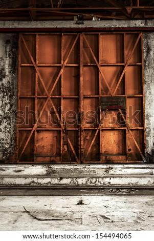 Industrial door closeup photo - stock photo