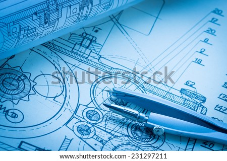 industrial drawing detail and several drawing tools
