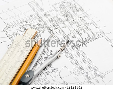 industrial drawing detail and several drawing   tools - stock photo