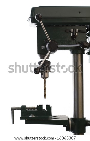 Industrial Drilling Bench Press - Isolated on White - stock photo