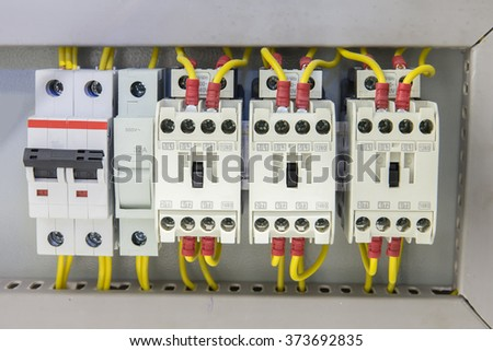 Industrial electrical panel with electronic devices for relay protection and process controlling closeup