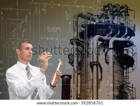 Industrial engineering designing power manufacturing  technology - stock photo