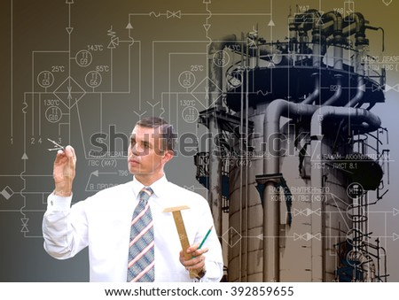Industrial engineering energy manufacturing technology - stock photo