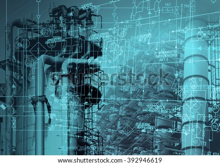 Industrial engineering energy manufacturing technology. - stock photo