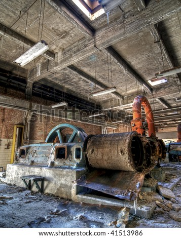 Industrial Equipment at an Abandoned Building - stock photo