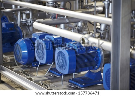 Industrial equipment, compressor pump - stock photo