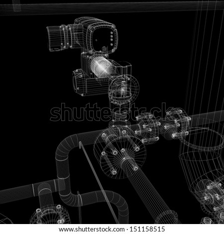 Industrial equipment. Wire-frame render isolated on a black background - stock photo