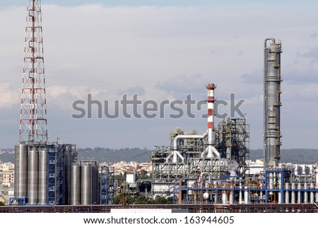 Industrial facilities in a large oil refinery