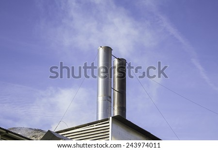 Industrial factory in city, business and finance - stock photo