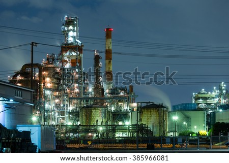 Industrial factory plant working at night