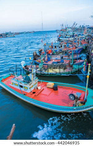 Industrial fishing. Fishing boats.Thailand's fishing industry. - stock photo