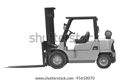industrial fork lift truck monochrome - stock photo