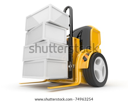 Industrial forklift with a load of. The futuristic robot. 3d isolated - stock photo
