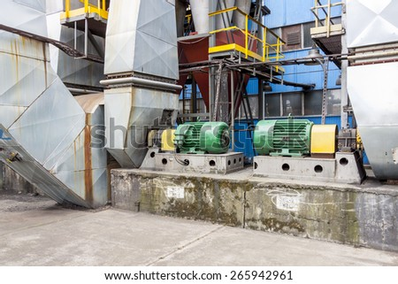 Industrial fumes ventilators system - Poland. - stock photo