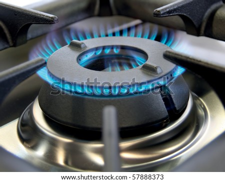 Industrial gas burner for a large pan or wok - stock photo