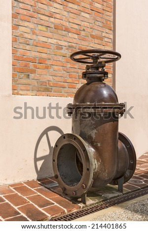 industrial gate valve big size for oil and gas plant - stock photo