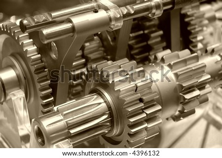 Industrial gears in sepia - stock photo