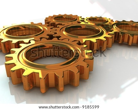 industrial gearwheels - stock photo