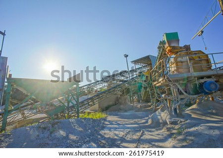 Industrial Gravel Quarry and Sand Stone Refinery - stock photo