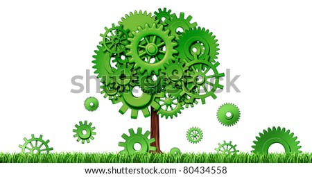 Industrial growth in manufacturing and planning for investments and seed money for future opportunities in emerging markets representing growth and prosperity with a green tree made of cogs and gears. - stock photo