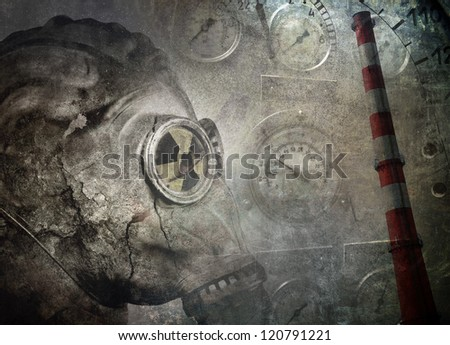 Industrial grunge background, man in gas mask - stock photo