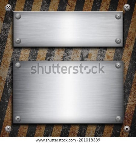 Industrial grungy steel plate with black and yellow strip under aluminum shape - stock photo