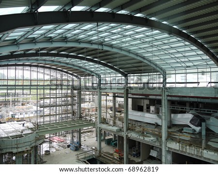 Industrial hall with steel structure being under construction