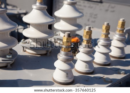 Industrial high voltage converter detail close up image - stock photo