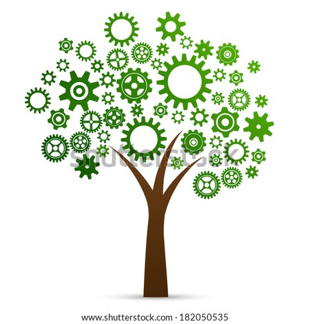 Industrial innovation concept tree made from cogs and gears isolated  illustration - stock photo