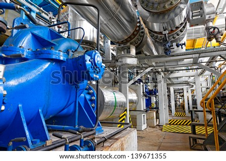 Industrial interior of a thermal power plant - stock photo