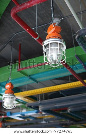 Industrial lamp and HVAC system - stock photo