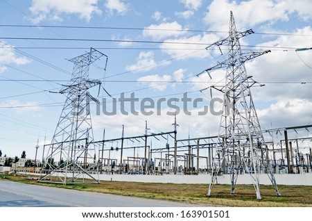 Industrial landscape - General view on the electric substation in Feodosia, Crimea, Ukraine