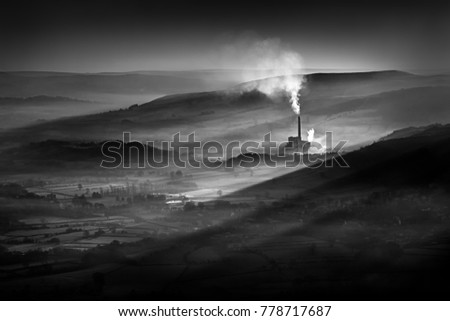 Industrial Landscape In Black And White