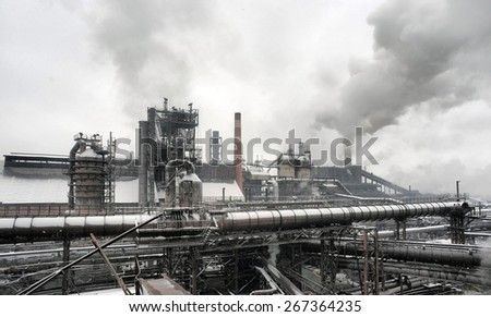 Industrial landscape of metallurgical industrial complex of the heavy industry - stock photo