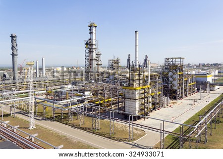 Industrial landscape of refinery at summer day - stock photo