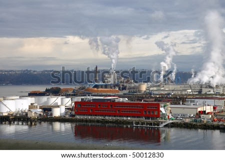 Industrial landscape, Tacoma WA. - stock photo