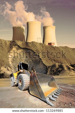 Industrial landscape with big excavator. Environmental concept. - stock photo