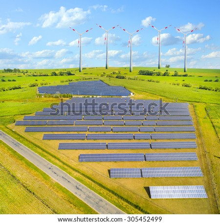 Industrial landscape with different energy resources. Sustainable development. - stock photo
