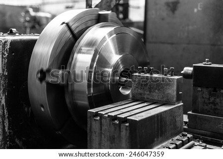 Industrial machine  in the factory at metalworks - stock photo