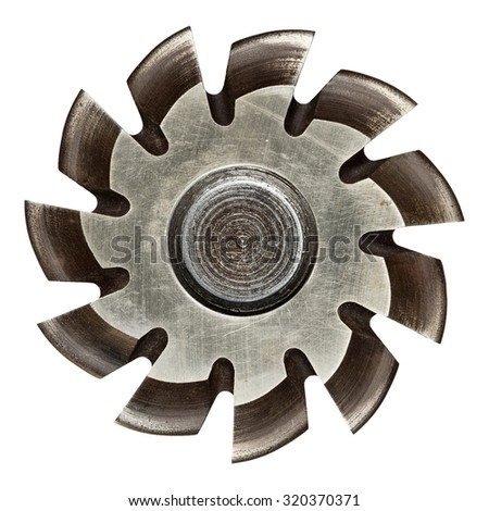 Industrial machine part, metal gear. Isolated on white. - stock photo