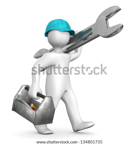 Industrial mechanic with helmet, toolbox and spanner. - stock photo