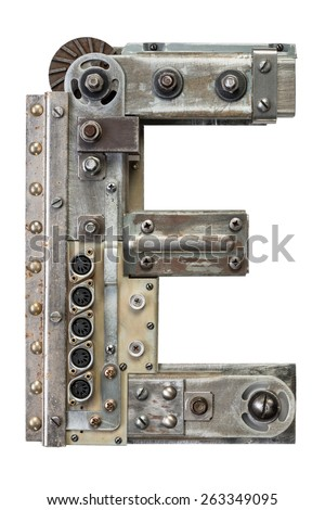 Industrial metal alphabet letter E - stock photo
