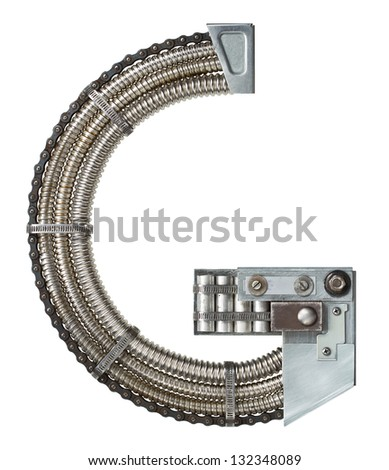 Industrial metal alphabet letter G - stock photo