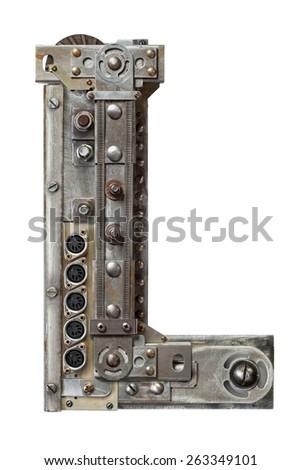 Industrial metal alphabet letter L - stock photo